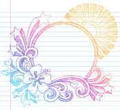 Hibiscus Summer Beach Vector Sketchy Doodle Royalty Free Stock Image