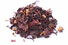 Hibiscus tea. Handful of red Hibiscus tea planted in Sudan and Egypt Stock Photos