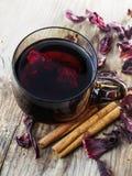 Hibiscus tea and cinnamon stock photo