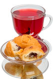 Hibiscus tea and croissants Stock Photo