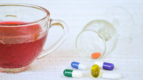 Hibiscus tea and dietary supplements Stock Images