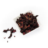 Hibiscus tea. Fragrant and tasty tea from dried hibiscus flowers Stock Image