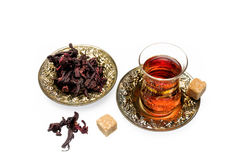 Hibiscus tea. Fragrant and tasty tea from dried hibiscus flowers Royalty Free Stock Photos