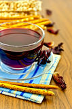 Tea hibiscus with bread and bread sticks Stock Photo