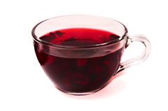 Hibiscus tea in a glass cup . Royalty Free Stock Photo