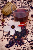 Hibiscus tea (Hibiscus sabdariffa) flower and sepals dried for i Royalty Free Stock Photos