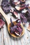 Hibiscus tea petals in wooden spoon royalty free stock photo