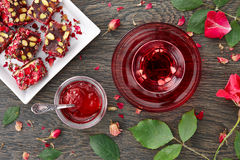 Hibiscus tea with rose jam and turkish delight Stock Photography