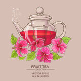 Hibiscus tea in teapot. On color background Royalty Free Stock Photo