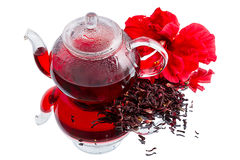 Hibiscus tea on white Royalty Free Stock Photos