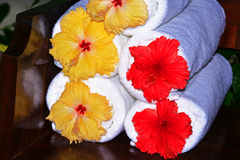 Hibiscus towels Royalty Free Stock Photography
