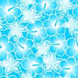 Hibiscus tropical blue gradient seamless pattern.  stock illustration