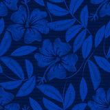 Hibiscus tropical do bordado da marinha ilustração do vetor