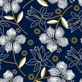 Hibiscus tropical embroidery navy seamless pattern Stock Images