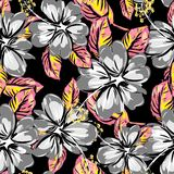 Hibiscus and tropical leaf seamless pattern background royalty free illustration