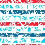Hibiscus tropical stripe seamless pattern Royalty Free Stock Images