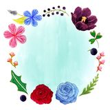 Hibiscus, Tulip and Rose Romantic Watercolor Flower Frame Stock Image