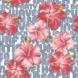 Hibiscuses wallpaper with written background. Seamless vector pattern in custom colors vector illustration