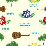 Hibiskus, gitarrer och palmträd Arkivfoton