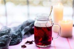 Hibiskuste i den glass koppen på en ljus bakgrund Royaltyfri Bild