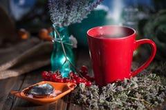 Hibiskuste i en glass kopp på en träbakgrund Arkivbild