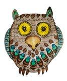 hibou aux yeux jaunes avec les plumes lumineuses illustration de vecteur