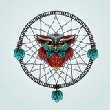 Hibou avec Dreamcatcher sur un fond blanc Image libre de droits
