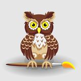 Hibou avec la brosse pour la série de dessin d'illustrations de vecteur pour la créativité du ` s d'enfants illustration libre de droits