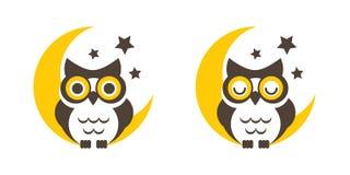 Hibou avec la lune et les étoiles Photos stock