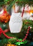Hibou décoratif de Noël Photographie stock libre de droits