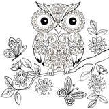 Hibou décoratif sur livre de coloriage fleurissant de branche pour des adultes Hibou décoratif tiré par la main pour l'anti page  illustration de vecteur