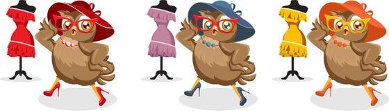 Hibou d'illustration de Seth Fashion dans le chapeau et des lunettes de soleil Image libre de droits