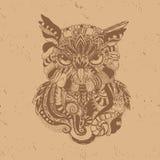 Hibou dans le style de café illustration stock