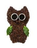 Hibou de café des haricots Photographie stock