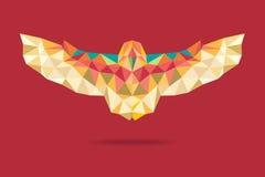 Hibou de grange pilotant le fond géométrique de rouge d'absract Image libre de droits