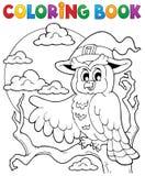Hibou 1 de Halloween de livre de coloriage Photographie stock