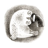 Hibou de Milou dans un cylindre Photos libres de droits
