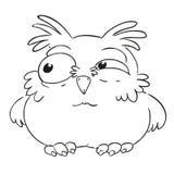 Hibou drôle de personnage de dessin animé Livre de coloriage de vecteur Découpe sur un fond blanc Photographie stock