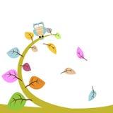 Hibou et feuille floraux Photographie stock libre de droits
