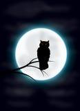 Hibou fantasmagorique et lune Photographie stock libre de droits