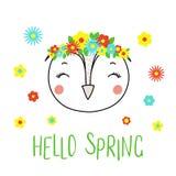 Hibou mignon avec des fleurs illustration de vecteur