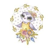 Hibou mignon d'aquarelle en guirlande de fleur de cercle illustration de vecteur