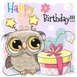 Hibou mignon de carte d'anniversaire de salutation avec le cadeau illustration stock