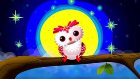 Hibou mignon et belle lune pour des berceuses banque de vidéos