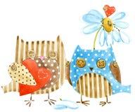 Hibou mignon Hibou d'oiseau d'aquarelle Carte de jour de Valentines Oiseau de bande dessinée Carte d'amour Images stock