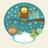 Hibou mignon sur le branchement illustration stock