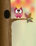 Hibou mignon sur un branchement illustration stock
