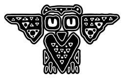 Hibou noir et blanc décoratif tribal illustration stock