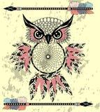 Hibou rêveur décoratif indien de receveur dans le style graphique Illustration illustration stock