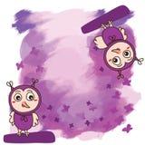 Hibou rêveur pourpre de fond d'aquarelle mignon Image stock